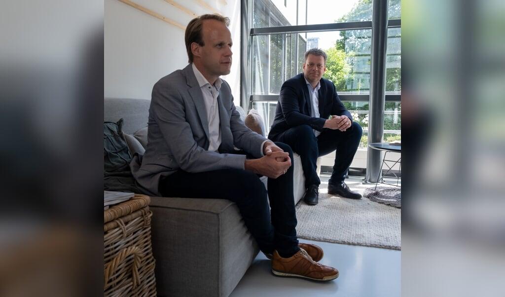Syan Schaap (links) en Frank Wijnveld van CrowdProfessionals/Event Safety Institute.  (beeld Sabine van Wechem)