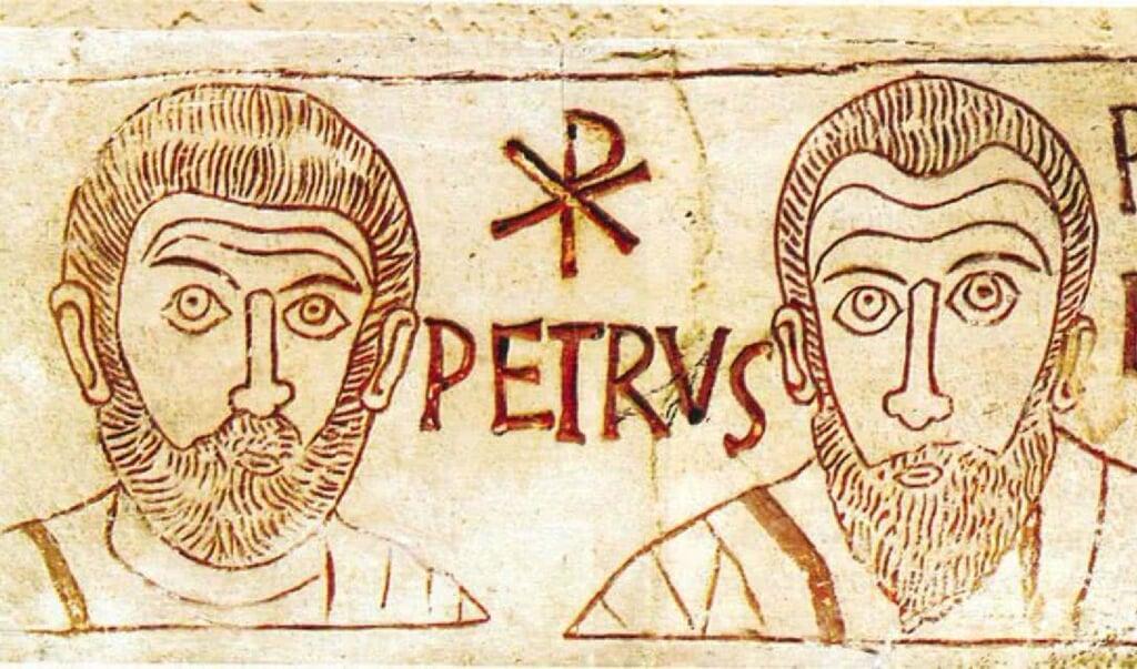 Petrus en Paulus naar een tekening uit de vijfde eeuw, aangetroffen in een catacombe in Rome.   (beeld wikipedia)