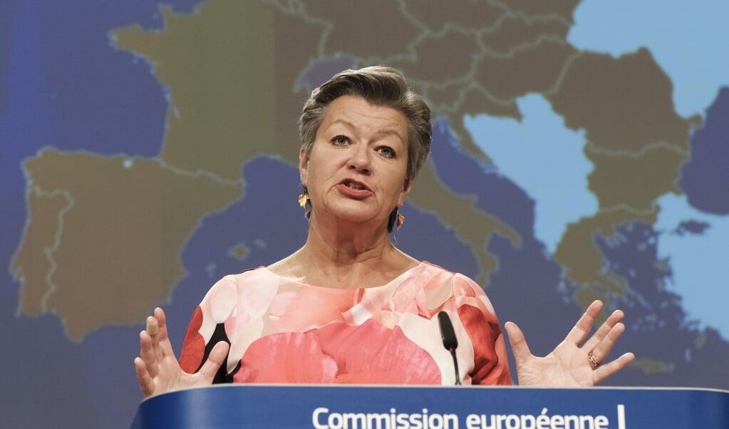 Ylva Johansson is migratiecommissaris van de Europese Unie: 'Kerkleden doen ongelofelijk veel. Ze helpen vluchtelingen en ondersteunen daarmee de integratie.'  (beeld afp)
