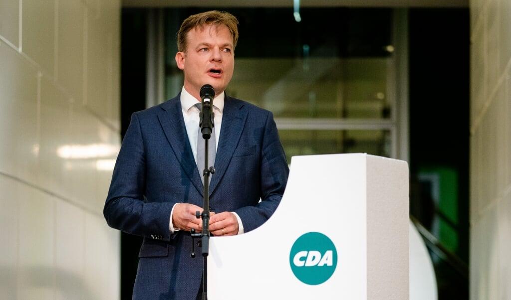 Pieter Omtzigt tijdens de voordracht van het CDA als kandidaat-lijsttrekker van de partij.   (beeld Hollandse Hoogte)
