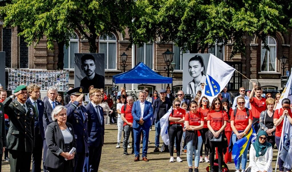 De Nationale herdenking Srebrenica Genocide op Het Plein in Den Haag. De stad krijgt een Srebrenicamonument.  (beeld anp / Robin Utrecht)
