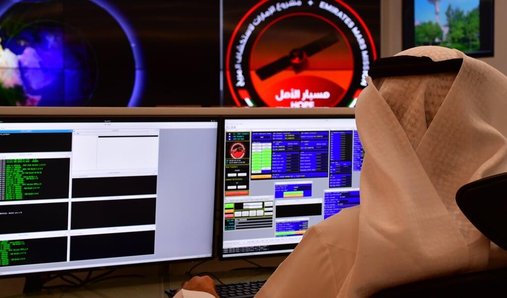 Controlekamer van de VAE-Marsmissie.   (beeld afp / Giuseppe Cacace)