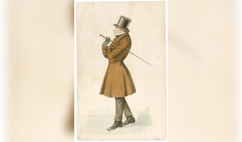 Søren Kierkegaard, getekend door P.C. Klæstrup, circa 1845.  (beeld P.C. Klæstrup)