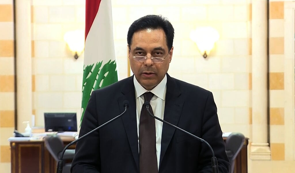 Premier Hassan Diab.  (beeld afp)