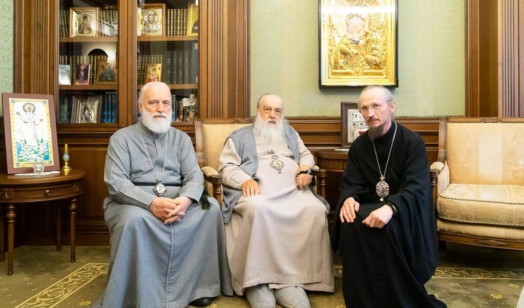 """<p class=""""G_foto_bijschrift13"""" pstyle=""""G_foto_bijschrift1-3"""">Drie Belarussische exarchen: van links naar rechts de weggestuurde Pavel, de voormalige Filaret en de huidige Venjamin.</p>  (beeld belarussische orthodoxe kerk )"""