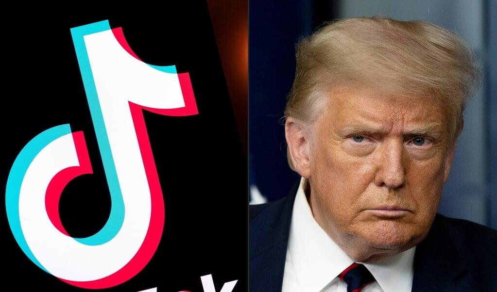 President Trump doet TikTok in de ban.  (beeld afp)