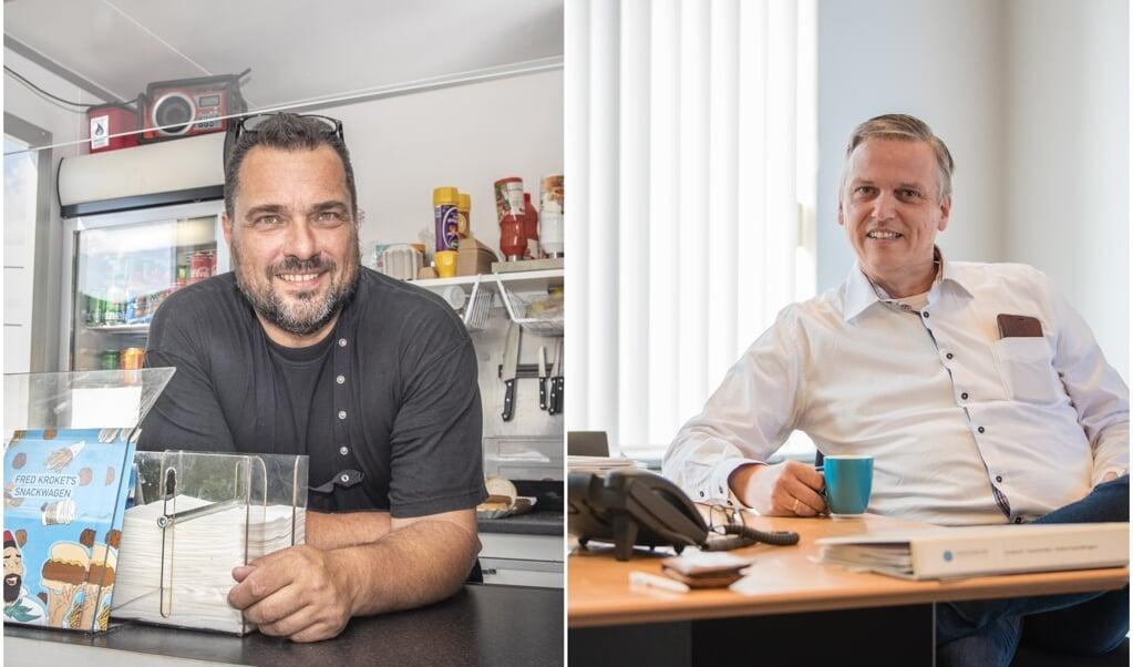 Links: Snackwagen Fred Kroket, met Fred Voskuil. Rechts: Marco van de Wetering van beursorganisator Helderblauw.  (beeld Martin Waalboer, Jorik Algra)