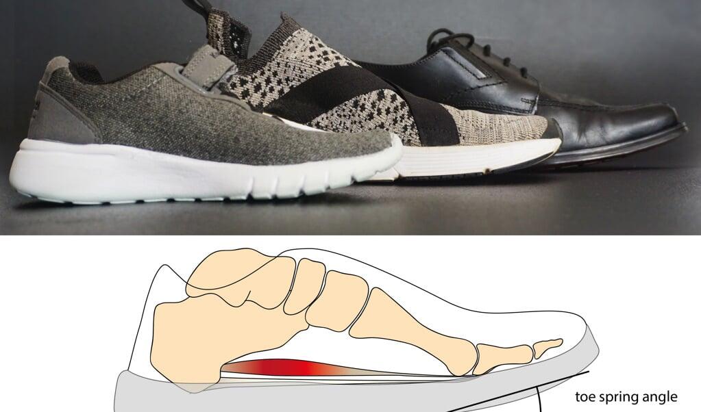 Schoenen met een neus die omhoog steekt belasten de voetspieren minder.  (beeld Freddy Sichting)