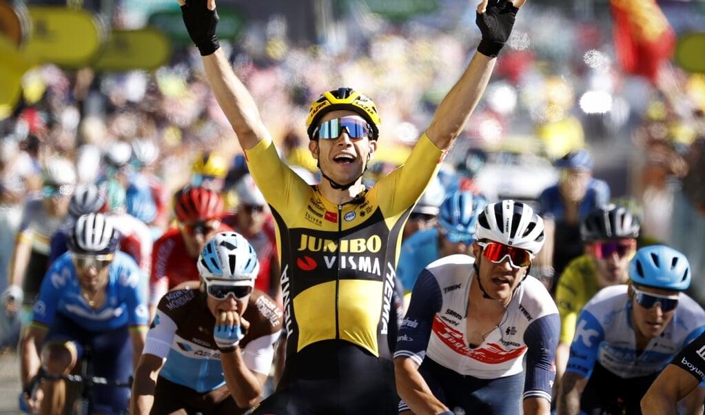 Wout van Aert won deze Tour de France al twee etappes.   (beeld anp / Yuzuru Sunada)