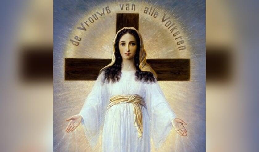 Het schilderij van de 'Vrouwe van Alle Volkeren' dat werd gemaakt op aanwijzing van Ida Peerdeman.  (beeld Facebook)