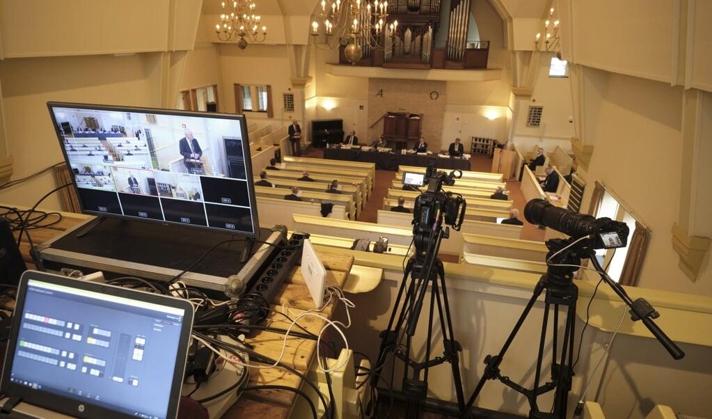 Vergadering van de landelijke synode CGK in de Dorpskerk (CGK) in 2020.  (beeld Dick Vos)