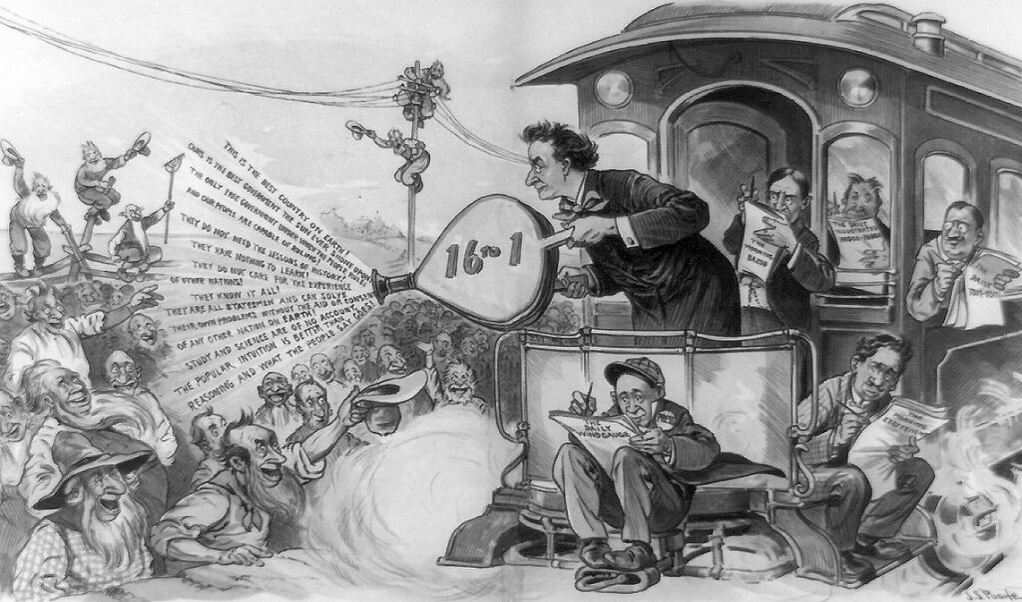 Cartoon van presidentskandidaat William Jennings Bryan, die in 1896 per trein het land doortrok.  (beeld Library of Congress)