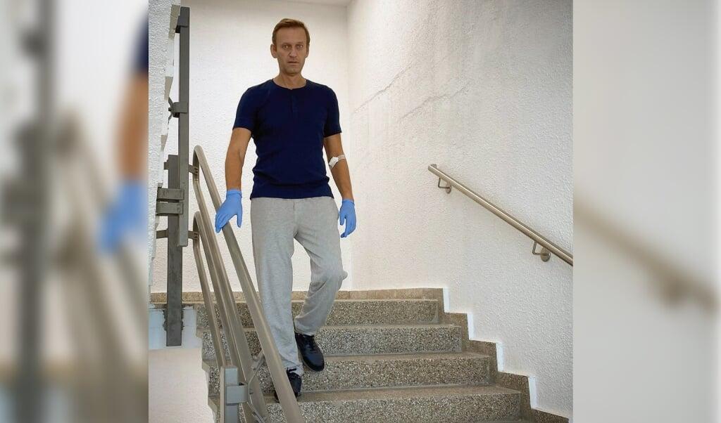 <p>De foto die Navalny zaterdag van zichzelf op Instagram heeft geplaatst.</p>  (beeld afp / instagramaccount @navalny)