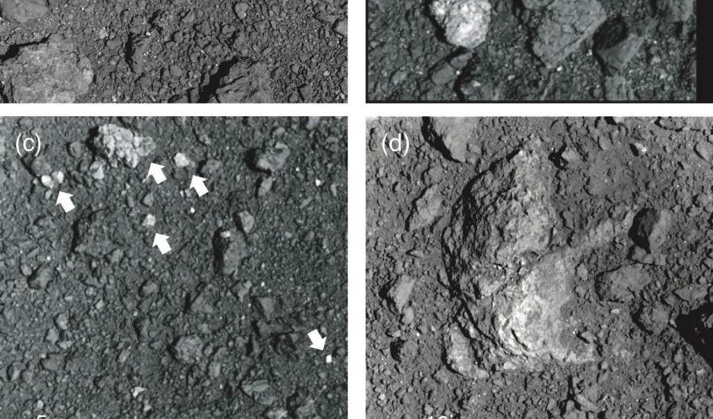 <p>Foto&rsquo;s van rotsen op het oppervlak vak van Ryugu, gemaakt door de ruimtesonde Hayabusa2.</p>  (beeld Eri Tatsumi)