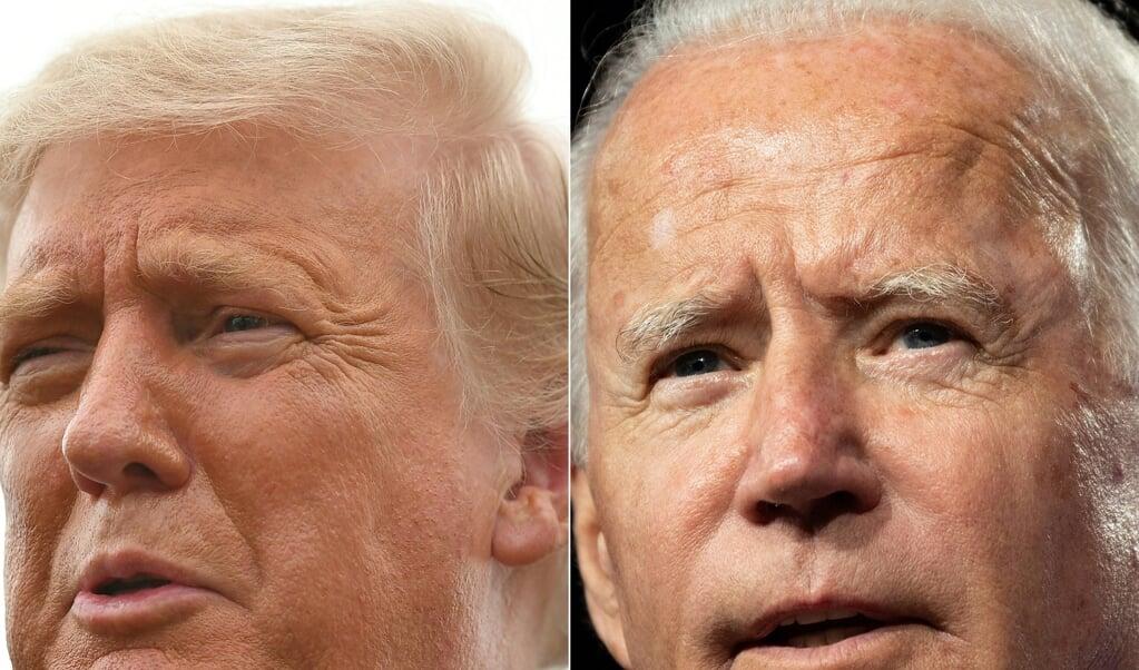 <p>Ondanks vier jaar presidentschap is Trump (links) nog altijd de buitenstaander die Washington, nota bene vanuit het Witte Huis, onder vuur neemt. Juist omdat Biden (rechts) al zo lang in de landelijke politiek zit. </p>  (beeld anp)