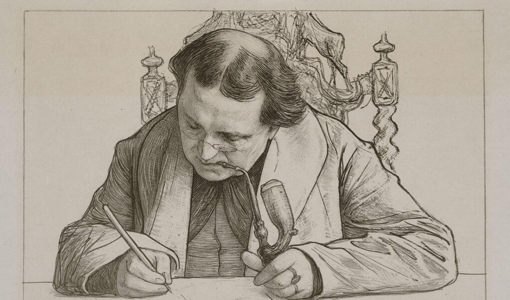 <p>Abraham Kuyper schreef elke dag van 9 tot 1 uur. Deel van een tekening van Jan Veth uit 1892.</p>  (beeld stadsarchief Amsterdam)