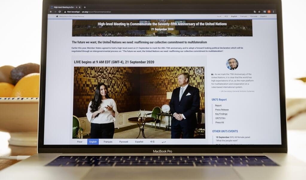2020-09-21 17:29:30 UTRECHT - De videoboodschap van koning Willem-Alexander en jongerenvertegenwoordiger Hajar Yagkoubiter gelegenheid van de opening van de 75e Algemene Vergadering van de Verenigde Naties te zien op de site van de organisatie. Vanwege COVID-19 vindt deze AVVN voornamelijk virtueel plaats. ANP ROYAL IMAGES ROBIN VAN LONKHUIJSEN  (beeld anp / Royal Images Robin van Lonkhuijsen)