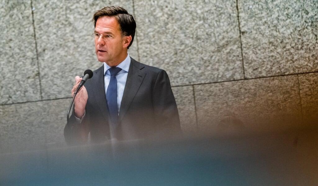<p>Premier Mark Rutte tijdens de tweede dag van de Algemene Politieke Beschouwingen.</p>  (beeld anp / Bart Maat)