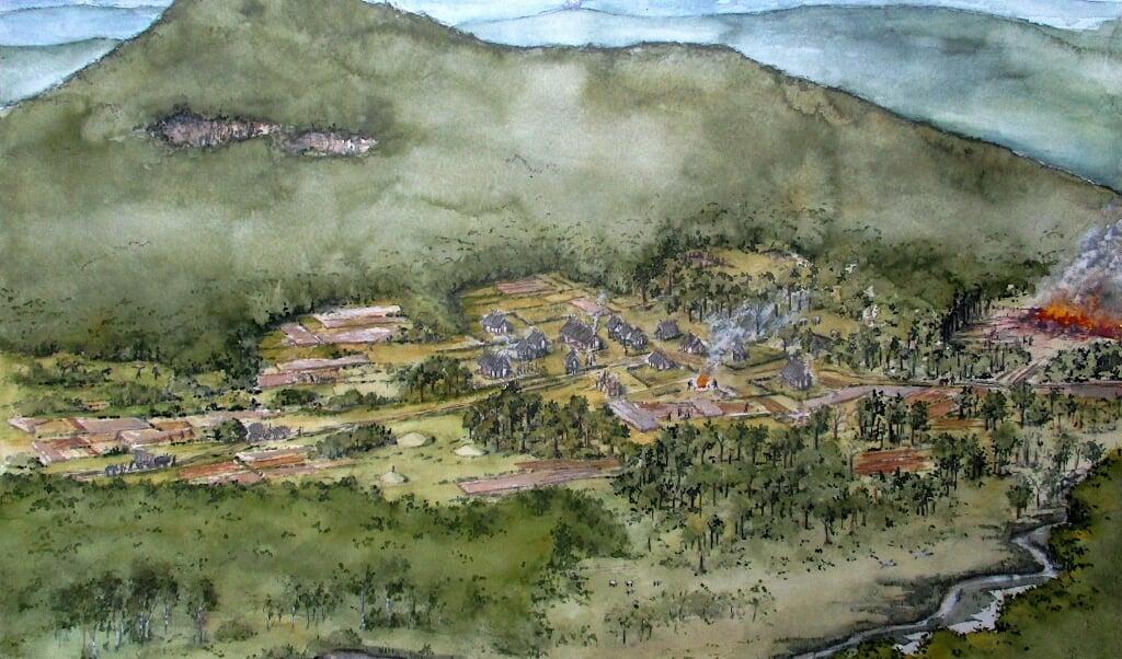 Impressie van een bronstijd nederzetting in een lagergelegen gebied, waar de condities beter waren dan in de westelijke Allgäu.  (beeld Roland Gäfgen)