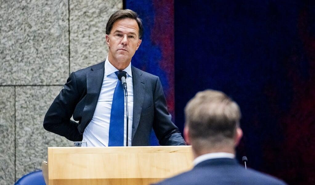 <p>Premier Mark Rutte tijdens de tweede dag van de Algemene Politieke Beschouwingen.</p>  (beeld anp / Remko de Waal)