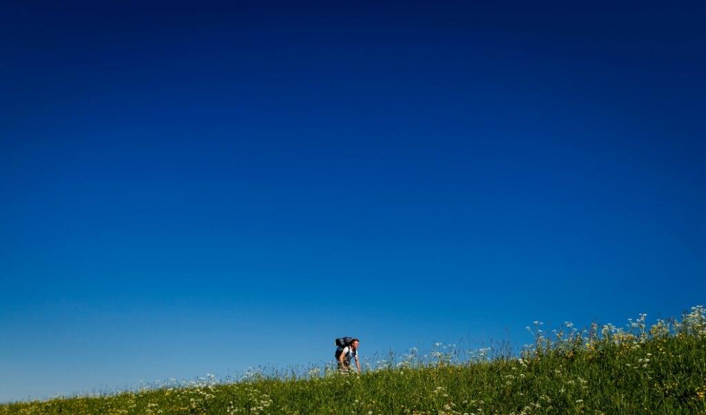 Niet alleen de lockdown, maar ook de noordoostenwind zorgde dit voorjaar voor ongekend blauwe luchten.  (beeld anp / Robin van Lonkhuijsen)