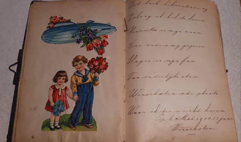 Poesiealbum, handschrift van Jetta Slager, 1938.   (beeld Collectie Stichting Folkingestraat Synagoge)