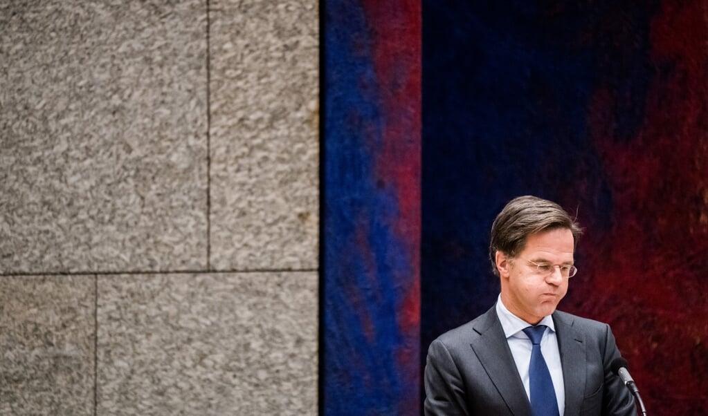 Premier Mark Rutte tijdens het debat over het coronavirus.  (beeld anp / Bart Maat)