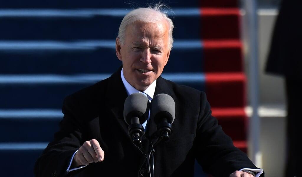 Biden tijdens zijn inauguratietoespraak  (Andrew Caballero-Reynolds / afp)