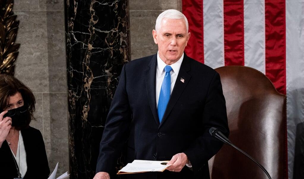 Vicepresident Mike Pence weigerde de verkiezingen ongeldig te verklaren - maar ook om president Trump af te zetten.  (beeld AFP / Erin Schaff)