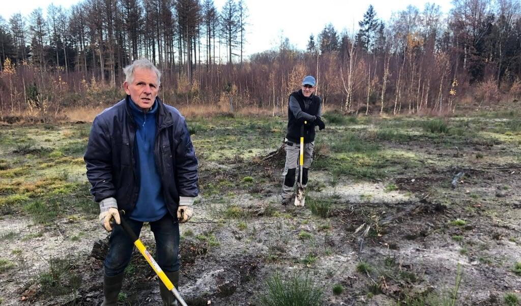 Franke van der Laan (links) oogst corona-proof zaailingen in de natuur.   (beeld meerbomen.nu)