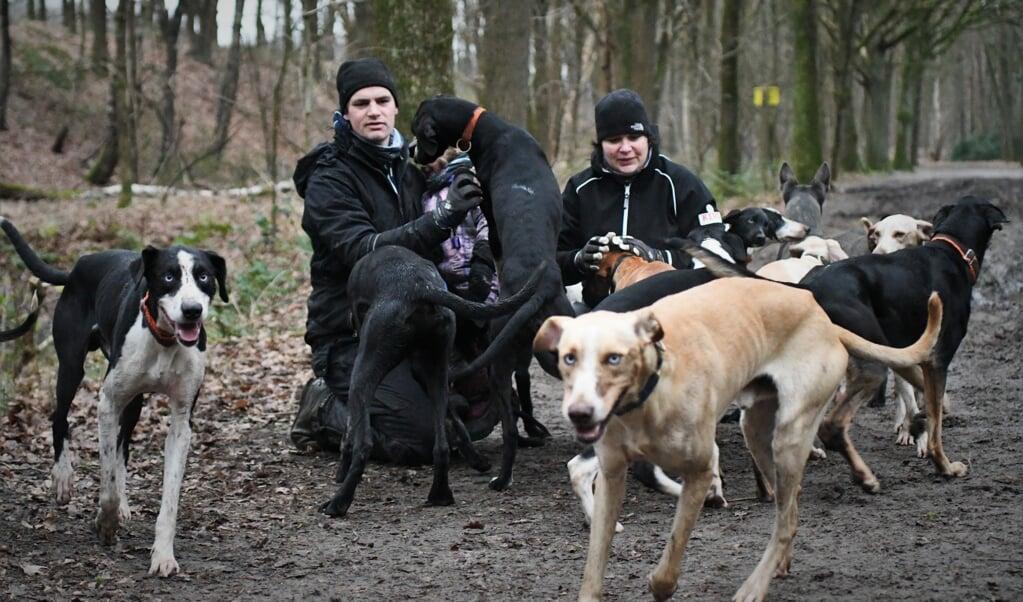 Stefan en Ilse Donker missen door corona het wedstrijdseizoen met hun sledehonden.  (beeld Theo Haerkens)
