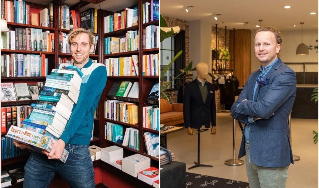 Harmen Riemer (links): 'In onze branche wordt momenteel een lobby gevoerd om boekwinkels tot essentiële winkels te verklaren, zodat ze open kunnen blijven. Maar, wat zeg je dan tegen de collega-kledingverkoper die wel dicht moet?'  (beeld nd / Nanette de Jong)