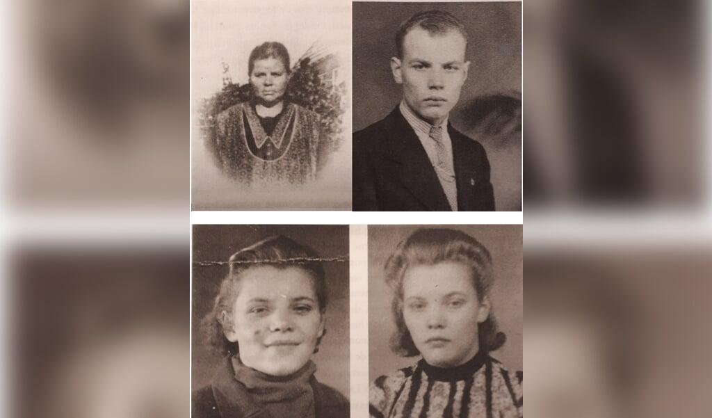 Met de klok mee: moeder Geertje, zoon Jochem en de tweeling Sjouktje en Hiltje.  (beeld uit besproken boek)