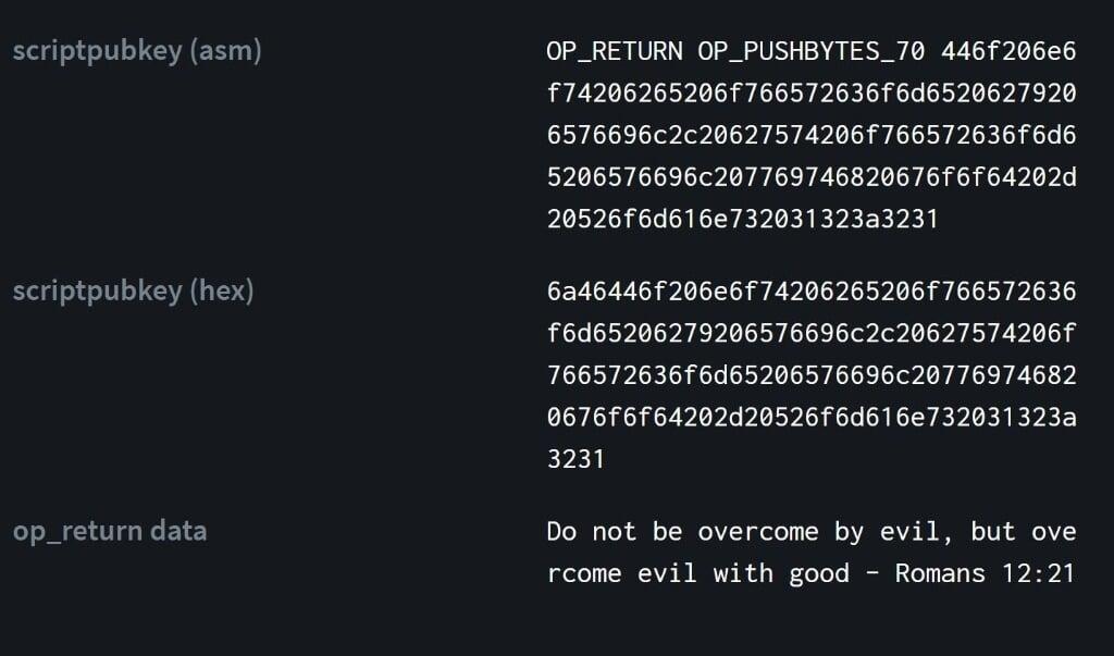 Een deel van de code van Bitcoin-block 666.666.  (beeld twitter)