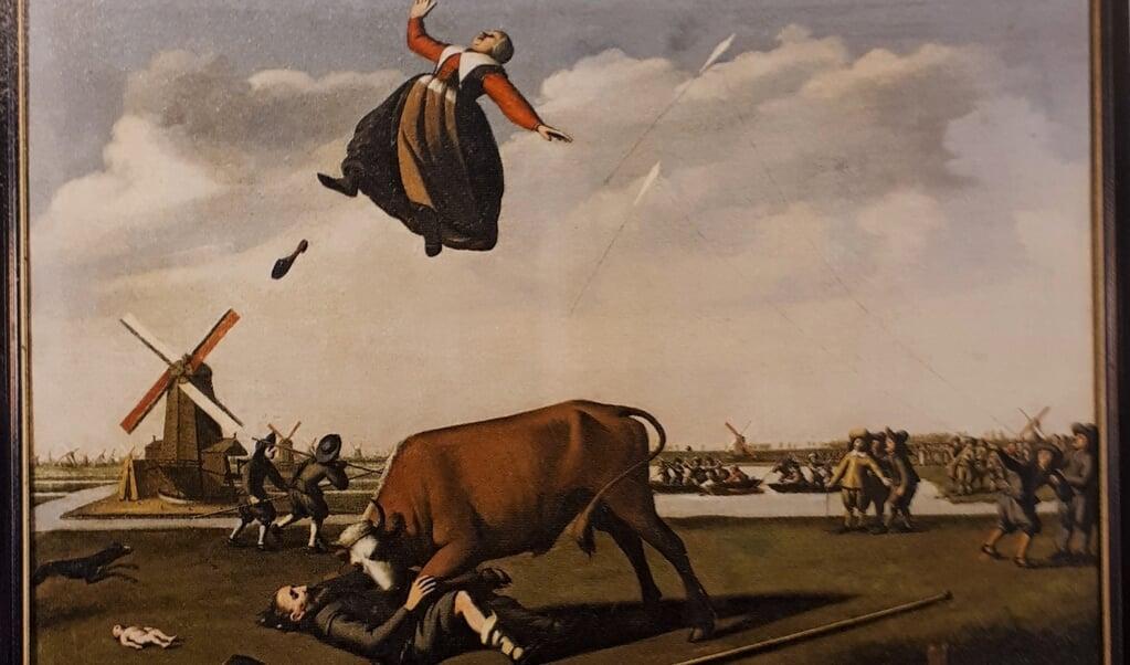 Het Zaanse vliegerdrama naar een schilderij van Willem H. Tetroe, rond 1650.  (beeld uit besproken boek)