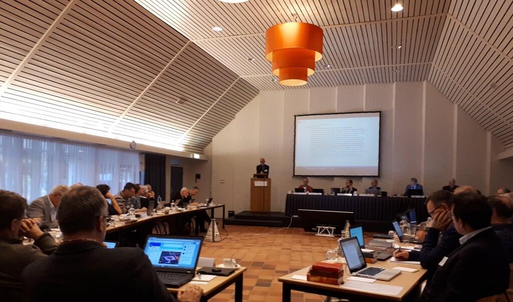 De bijeenkomst van de vrijgemaakt-gereformeerde synode in 2017, in Elspeet.  (beeld nd)
