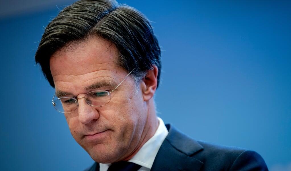 Demissionair premier Rutte tijdens de persconferentie van 20 januari.  (beeld anp / Bart Maat)