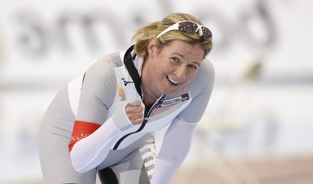 Claudia Pechstein na haar 3000 meter in Salt Lake City, februari 2020.  (beeld epa / George Frey)