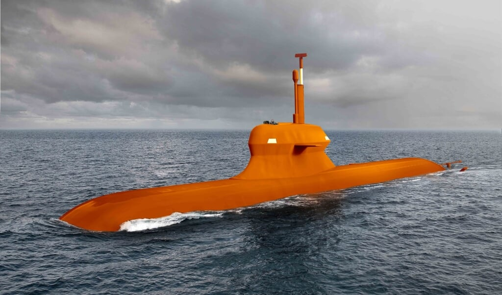 Damen/Saab presenteerde als knipoog een oranje geverfde onderzeeboot.  (beeld Damen)