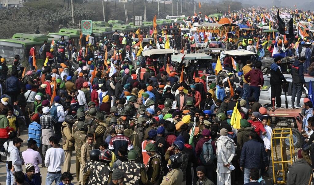 De boerenacties behoren tot de grootste protesten in de Indiase geschiedenis.  (beeld afop / Money Sharma)