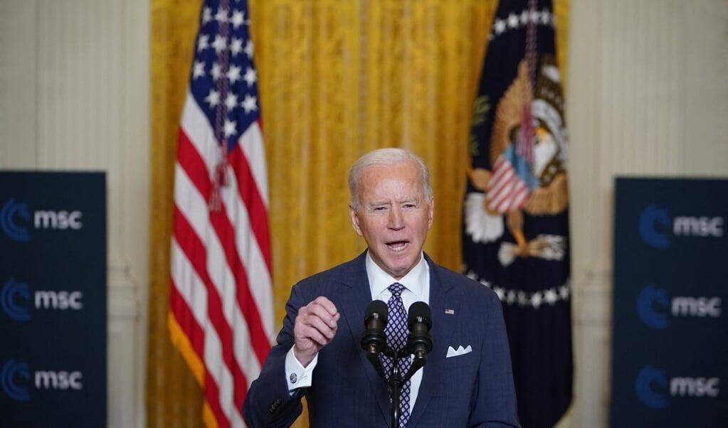 Joe Biden tijdens zijn toespraak.  (beeld Afp/Mandel Ngan)