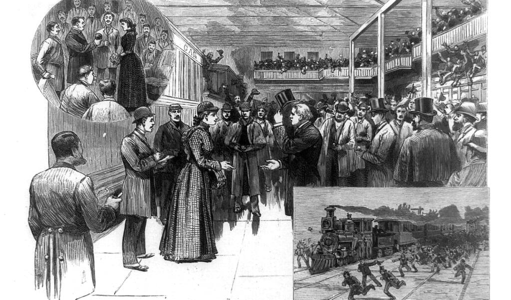Illustratie van de terugkeer van Nelly Bly na haar wereldreis.  (beeld library of congress)