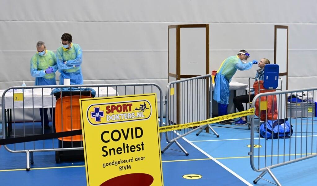 De teststraat op het NK Indoor Atletiek afgelopen weekend.  (beeld anp / Olaf Kraak)