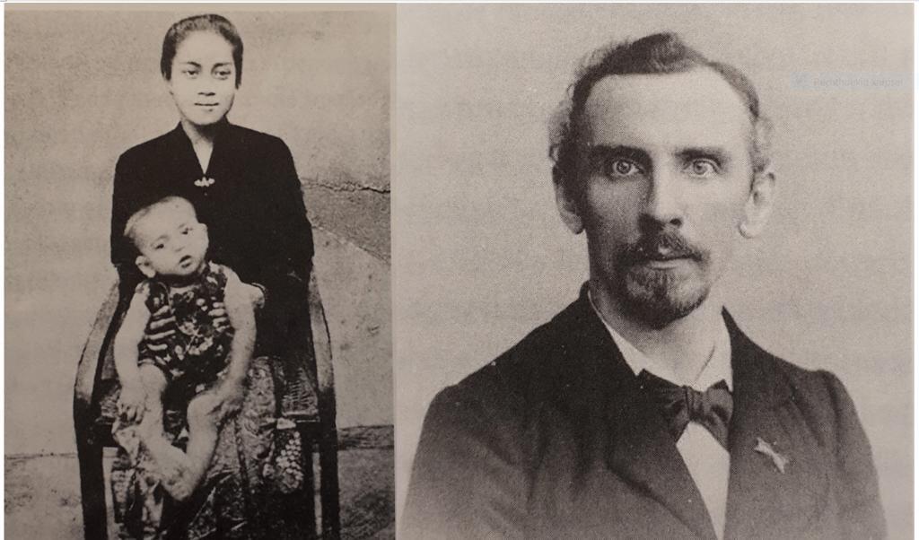 Christiaan Snouck Hurgronje en zijn eerste echtgenote Sangkana met een van hun zonen.  (beeld uit besproken boek)
