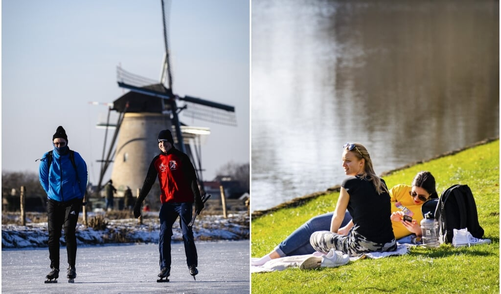 Links: schaatsers passeren de molens van Kinderdijk, afgelopen weekend. Rechts: lenteweer in februari 2019.  (beeld anp / Sem van der Wal, anp / Piroschka van de Wouw)