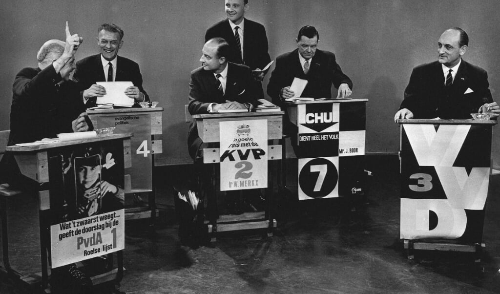 Televisiedebat bij de Statenverkiezingen van 1966, toen de PvdA dramatisch verloor.  (beeld anp)