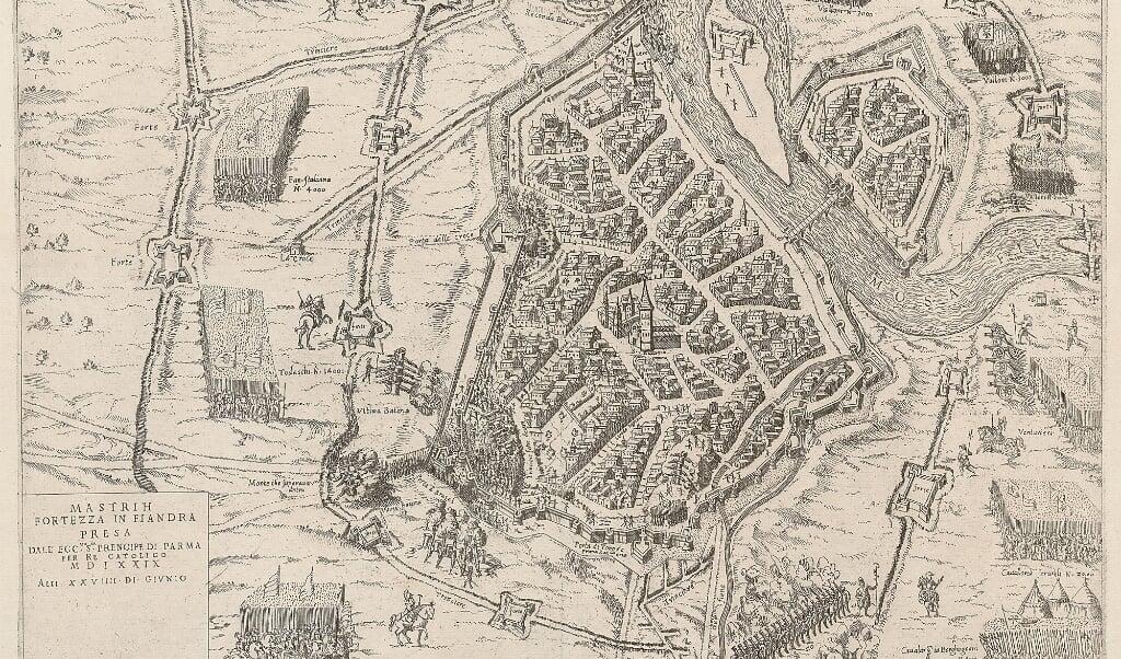 Tekening van Maastricht na de insluiting door Spaanse troepen.  (beeld Wikimedia / kopergravure Mario Cartaro )