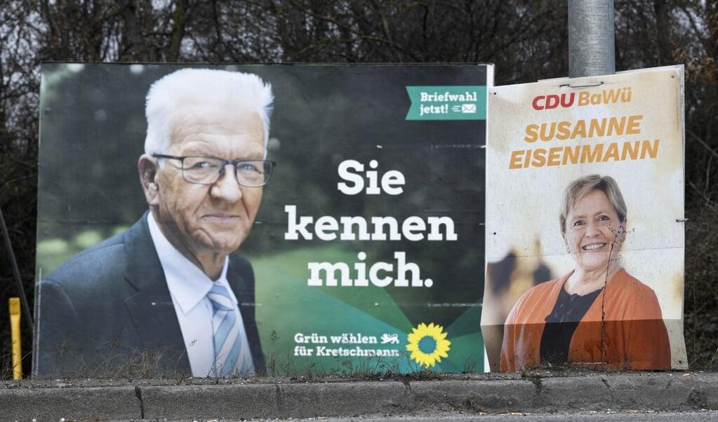 De Groenen wonnen met de 'Realpolitiker' Winfried Kretschmann de verkiezingen in Baden-Württemberg.  (beeld afp / Thomas Kienzle)