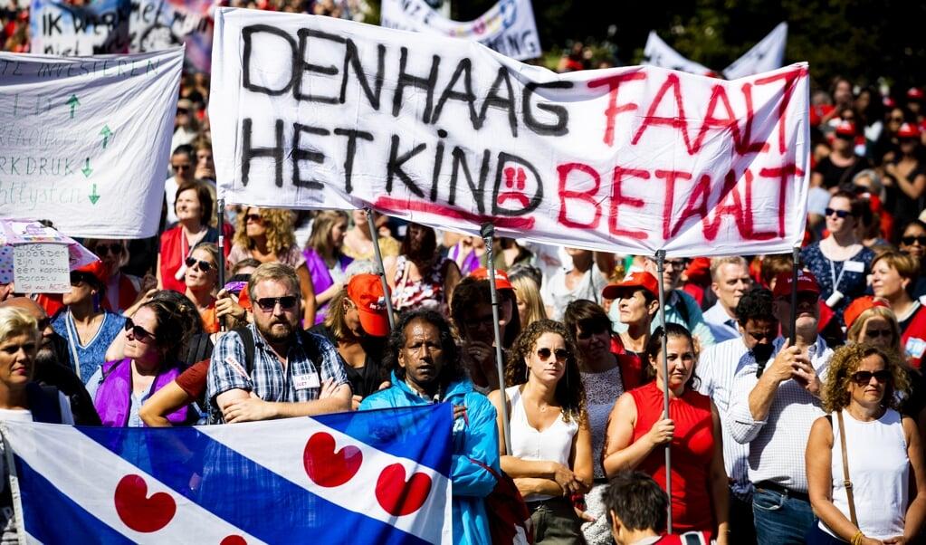 Jeugdzorgwerkers staakten in 2019 voor het eerst in de Nederlandse geschiedenis.  (beeld anp / Sem van der Wal)