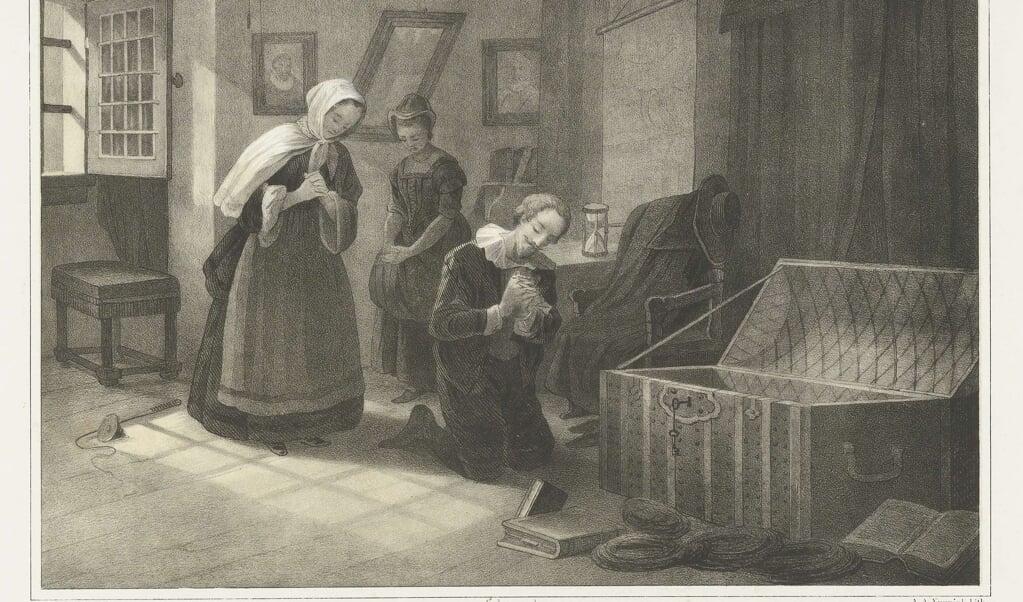 Een schoolplaat uit 1856 beeldt uit hoe De Groot, zijn vrouw en het dienstmeisje bidden voor een goede afloop.  (beeld nd)